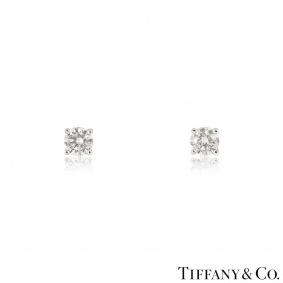 Tiffany & Co. Solitaire Diamond Platinum Stud Earrings1.24ct TDW